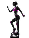Woman fitness stepper silhouette Royalty Free Stock Images
