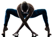 Woman fitness Stretching excercises silhouette Royalty Free Stock Image