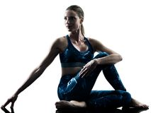 Woman fitness Stretching excercises silhouette Royalty Free Stock Photos