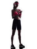 Woman fitness telephone smartphone  silhouette Stock Image