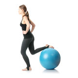 Woman during fitness time with ball Royalty Free Stock Photo