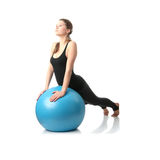 Woman during fitness time with ball Royalty Free Stock Photos