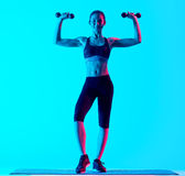 Woman fitness weights exercices isolated Royalty Free Stock Photo