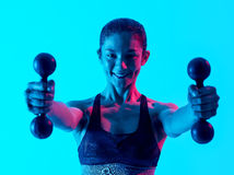 Woman fitness weights exercices isolated Royalty Free Stock Image
