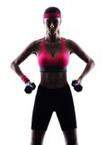 Woman fitness weights training exercises Royalty Free Stock Images