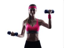 Woman fitness weights training exercises Stock Photography
