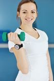 Woman fitness workout with weights Royalty Free Stock Images