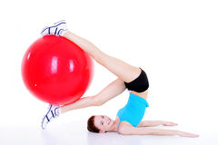 Woman and fittball Stock Photos