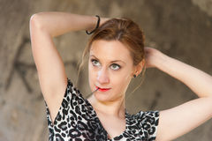 Woman Fixing Hair with Hairpin Royalty Free Stock Photo