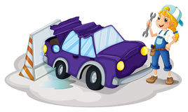 A woman fixing the violet car Stock Image