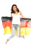 Woman with flag Royalty Free Stock Images