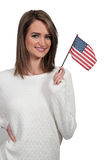 Woman with a Flag royalty free stock photo