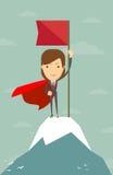 Woman with flag on a Mountain peak. Super Woman with flag on a Mountain peak, Business success concept Stock Photo