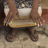 Woman with flag painted fingernails Havana royalty free stock images