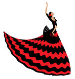 Woman flamenco with black fan. Abstract background and Spanish dancer in red-black dress stock illustration