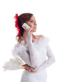 Woman flamenco dancer call cell phone Royalty Free Stock Images