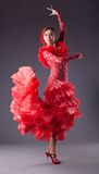 Woman flamenco dancer in red costume Stock Images
