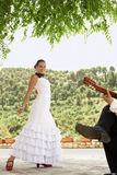 Woman Flamenco Dancing With Man Playing Guitar Royalty Free Stock Photos