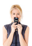 Woman and flash meter Stock Images