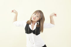 Woman flexing her muscles Royalty Free Stock Photography