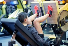 Woman flexing muscles on leg press machine in gym. Fitness, sport, bodybuilding, exercising and people concept - young woman flexing muscles on leg press machine Stock Image