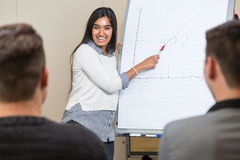 Woman at flip chart giving a lecture and presenting a graph Stock Photography