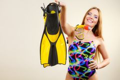 Woman with flippers and snorkeling mask having fun Royalty Free Stock Images