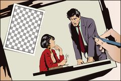 Woman is flirting with a guy at work. Stock illustration. People Royalty Free Stock Images