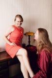 Woman Flirting with Man stock photos