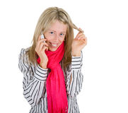 Woman flirting on a phone Royalty Free Stock Images