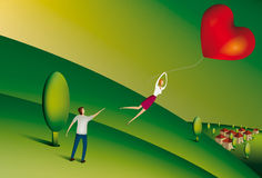 Woman floating away holding heart shaped balloon. Illustration of Woman floating away from her partner holding heart shaped balloon Royalty Free Stock Image