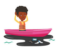 Woman floating in a boat in polluted water. Royalty Free Stock Photo