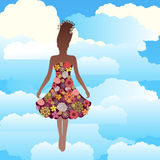 Woman floating in the clouds Stock Photo