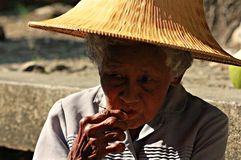 Woman in Floating Market, Thailand. Woman in Traditional hat near Floating market Stock Images