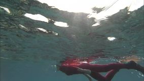 Woman is floating under the water. Indian Ocean video closeup. Action camera stock footage