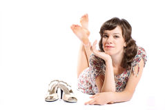 Woman on the floor. Stock Photo