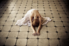 Woman in floor Royalty Free Stock Photo