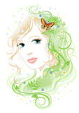 Woman & flora. Illustration of beautiful young woman with plants, flowers and butterfly on a white background Royalty Free Stock Photo