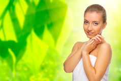 Woman on floral background Stock Image