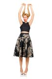 Woman in floral dark skirt isolated on white Royalty Free Stock Images