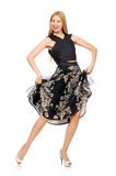 Woman in floral dark skirt isolated on white Stock Photography