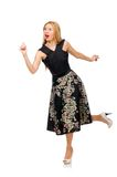 Woman in floral dark skirt isolated on white Royalty Free Stock Photos
