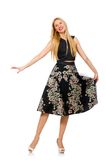 Woman in floral dark skirt isolated on white Stock Photo