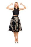 Woman in floral dark skirt isolated on the white Stock Images