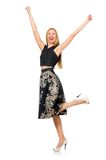 Woman in floral dark skirt isolated on the white Royalty Free Stock Photo