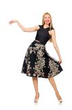 Woman in floral dark skirt isolated on the white Stock Photos