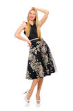 Woman in floral dark skirt isolated on the white Royalty Free Stock Photos