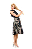 Woman in floral dark skirt isolated on white Stock Images