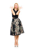 Woman in floral dark skirt isolated on white Royalty Free Stock Image