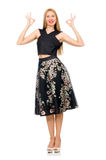 Woman in floral dark skirt isolated on white Stock Photos